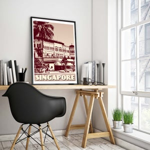 Image of Vintage poster Singapore - Raffles Hotel - Fine Art Print