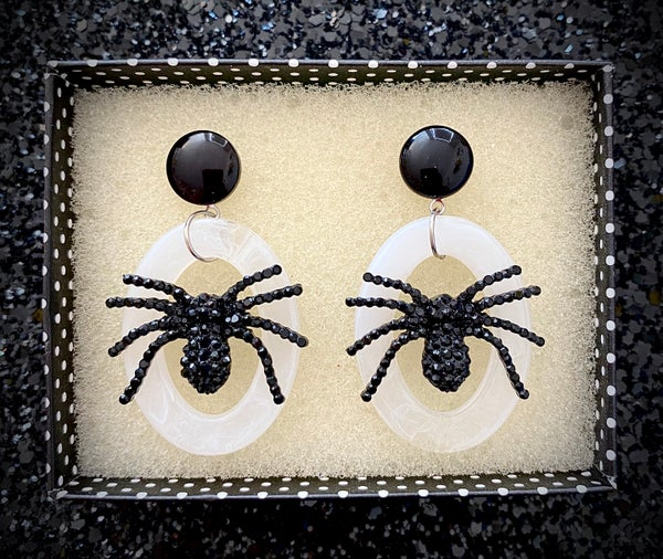Image of Itsy Witchy Spider Earrings - Ghost White