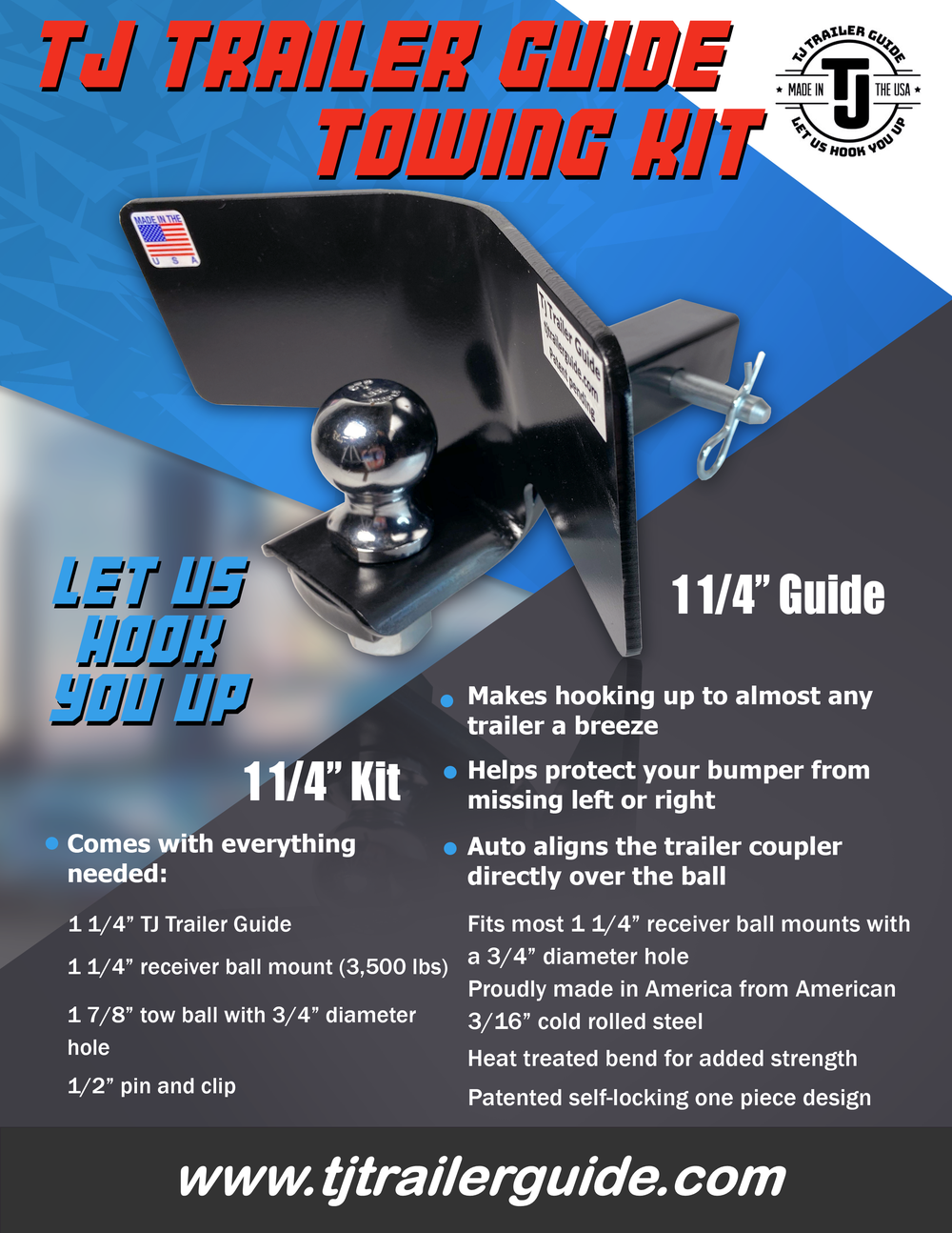 "1 1/4"" TJ Trailer Guide Tow Kit"