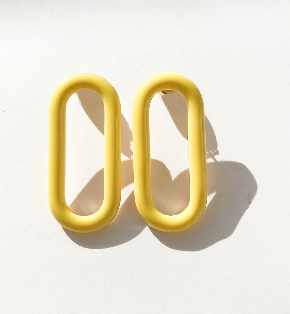 Oval Earrings • Stainless steel - Yellow
