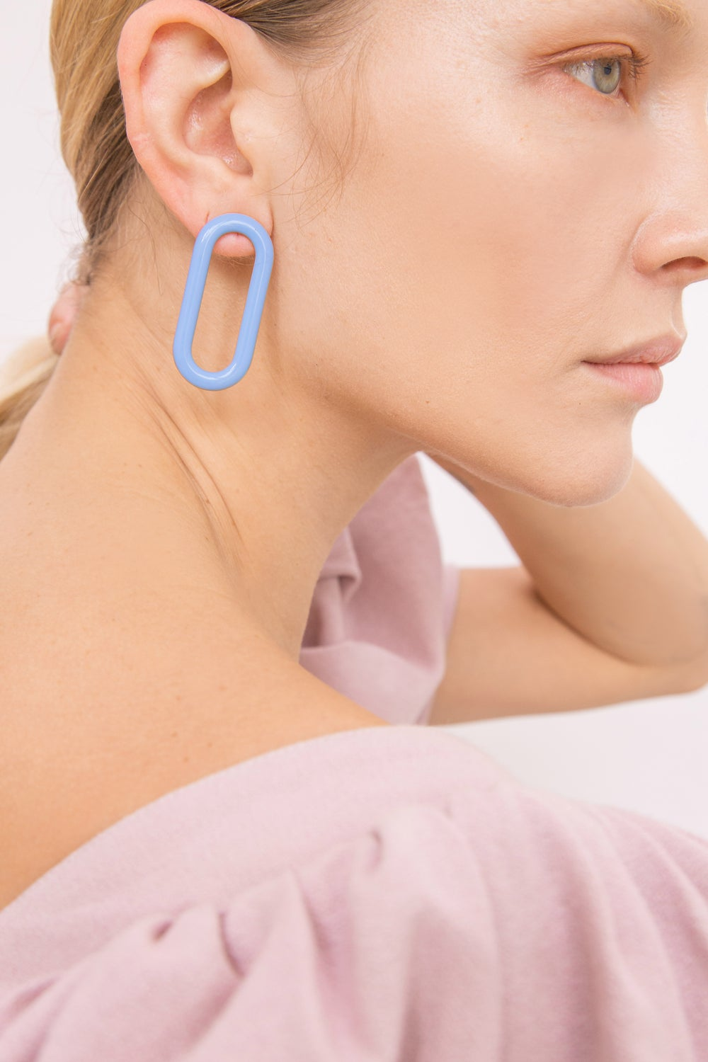 Oval Earrings • Stainless steel - Light Blue