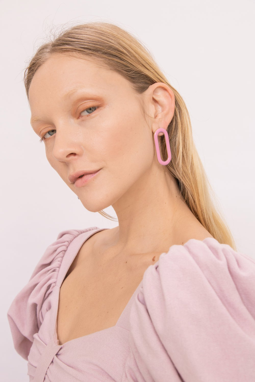 Oval Earrings • Stainless steel • Pink