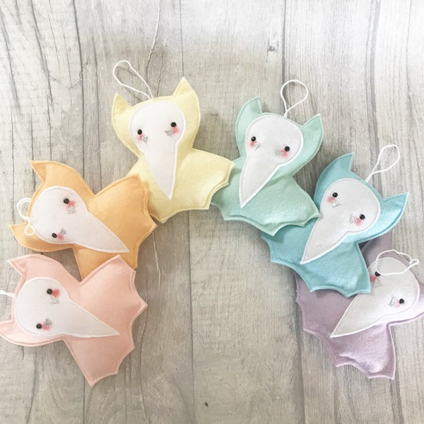 Image of Pastel Felt Bat Decorations