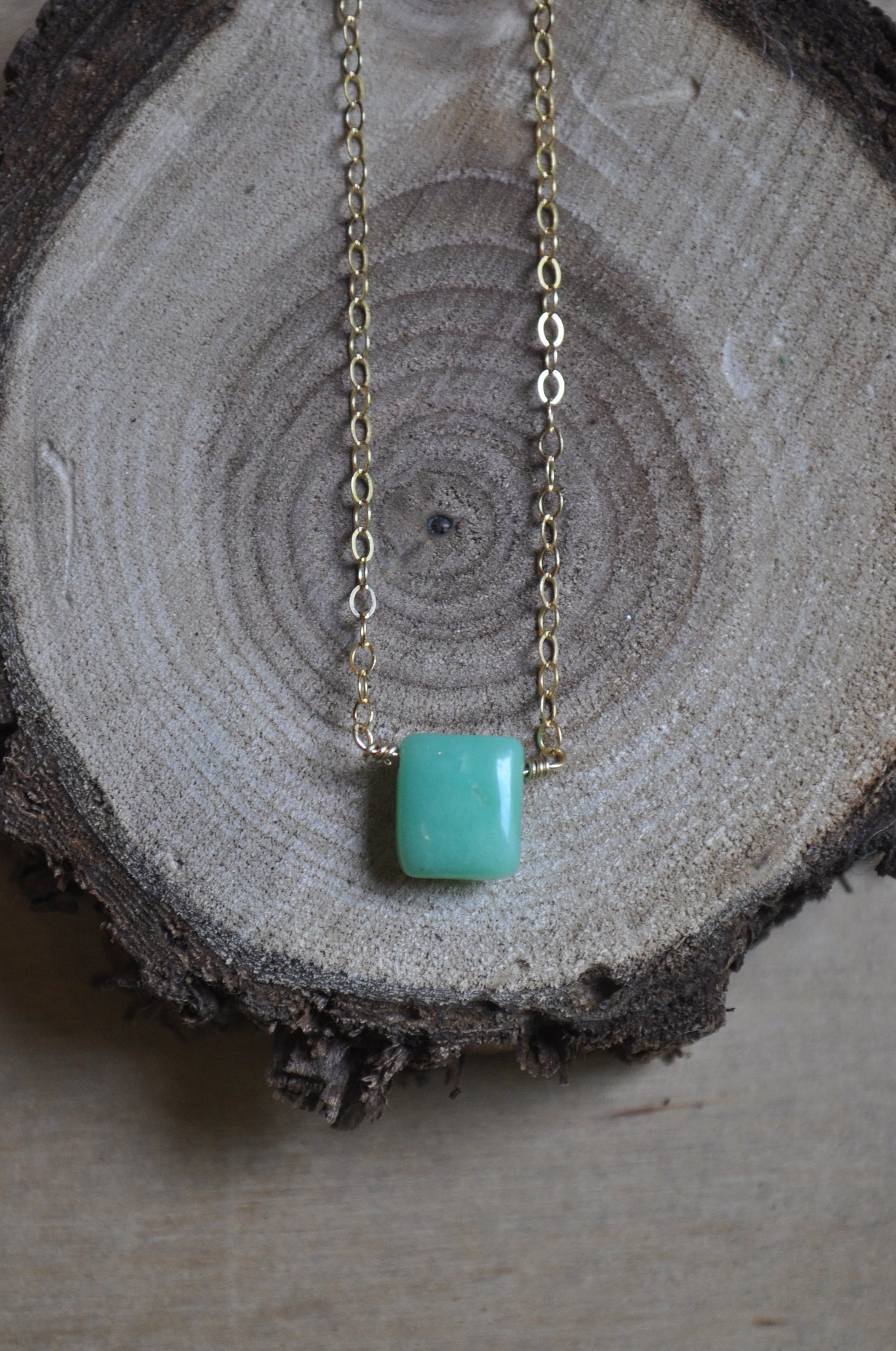 Image of Tiny Chrysoprase Necklace - on Gold Fill