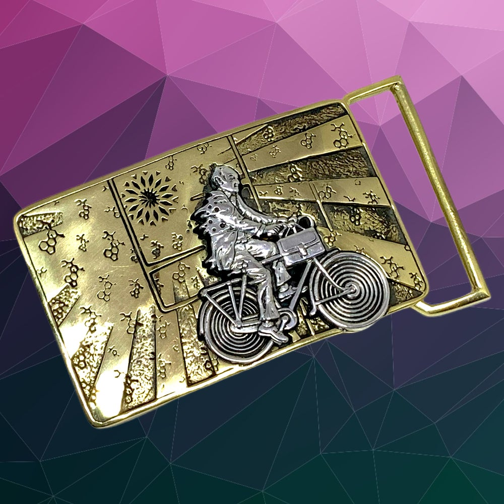 Image of Albert Hofmann Bicycle Day Tribute Buckle cast in Yellow Brass & Sterling Silver