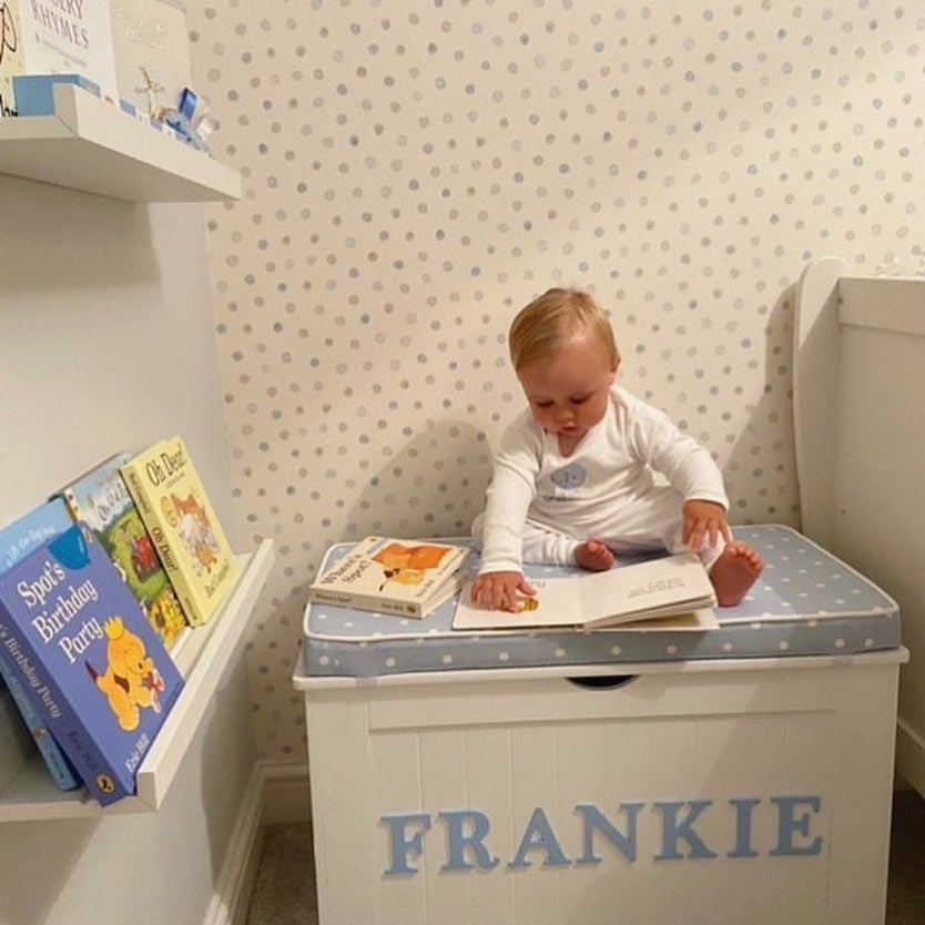 Image of Personalised Chest - Cushion Top - Dotty Blue