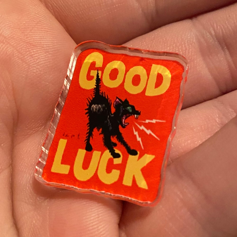 Image of GOOD LUCK ACRYLIC PIN- RED