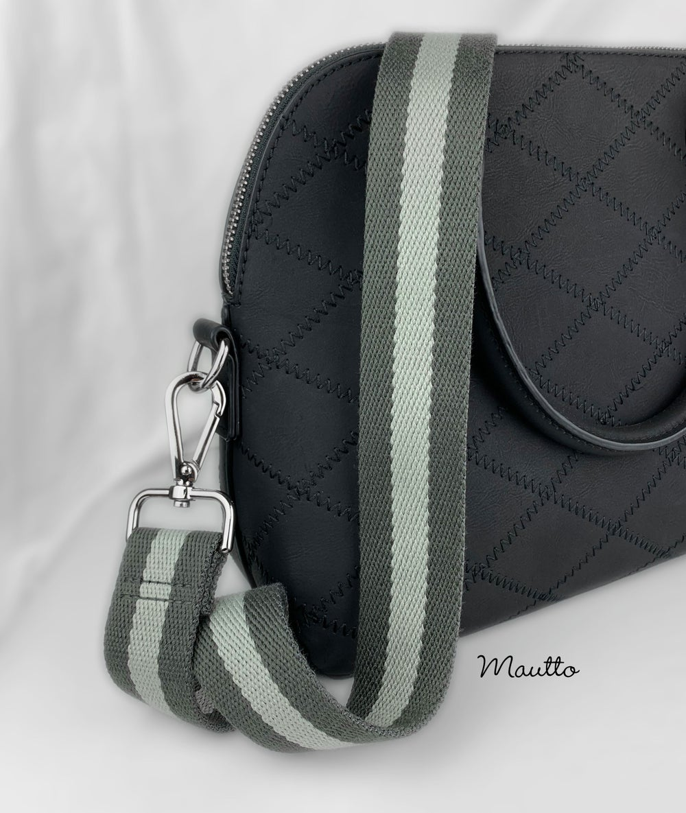 """Image of Two-tone Gray Strap for Bags - 1.5"""" Wide Cotton - Adjustable Length - Tear Drop Shape #14 Hooks"""