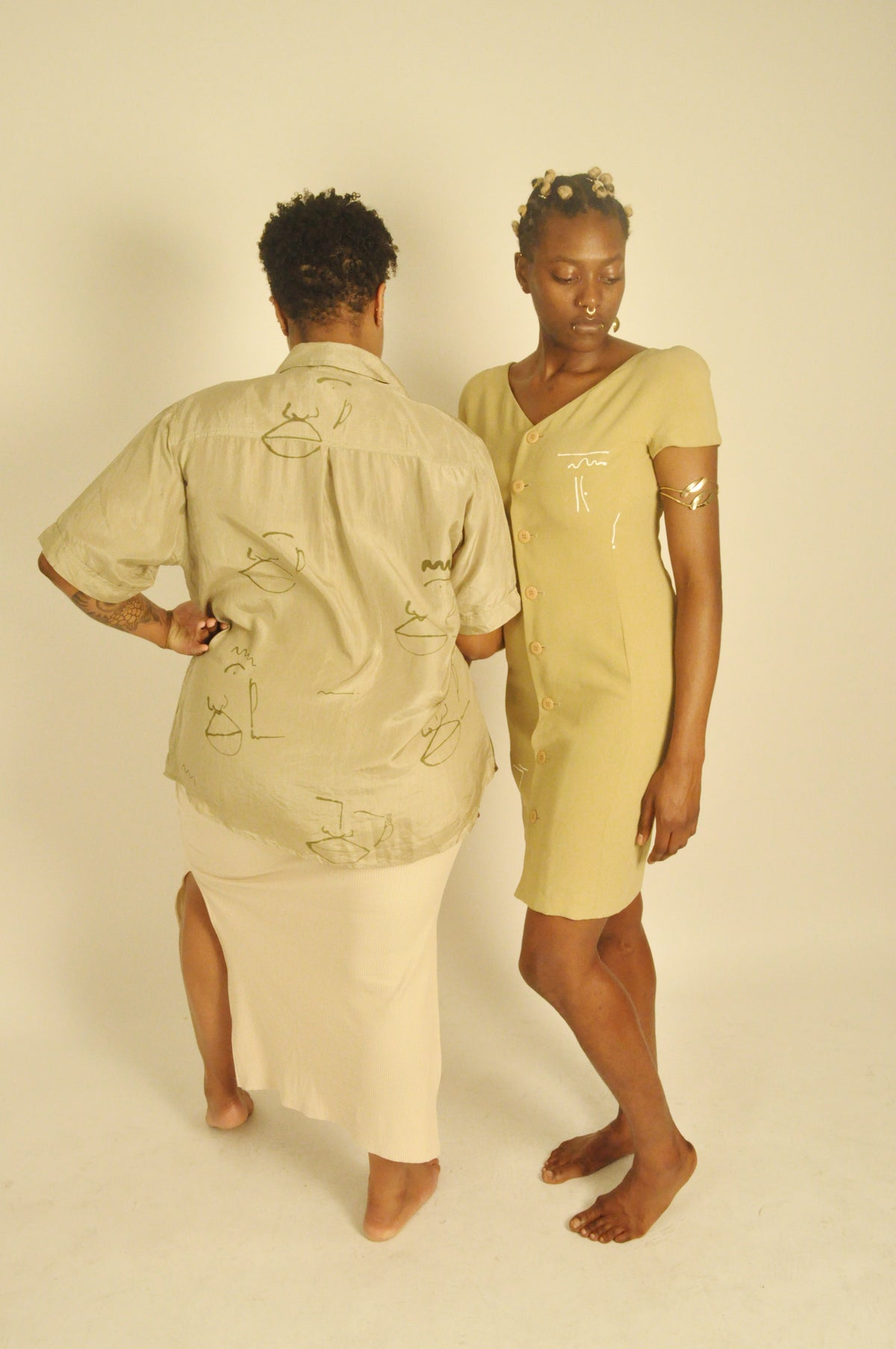 Image of olive line dress