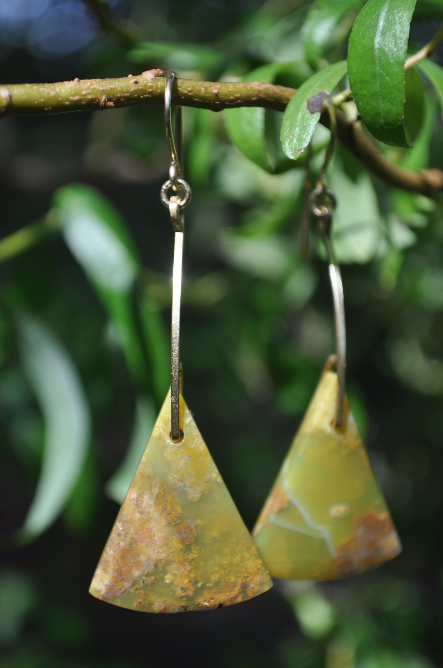 Image of One of a kind Yellow Opal Triangle Dangles