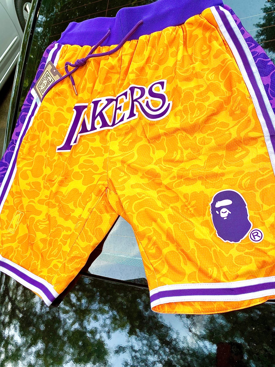 Image of Lakers /bape stitched shorts