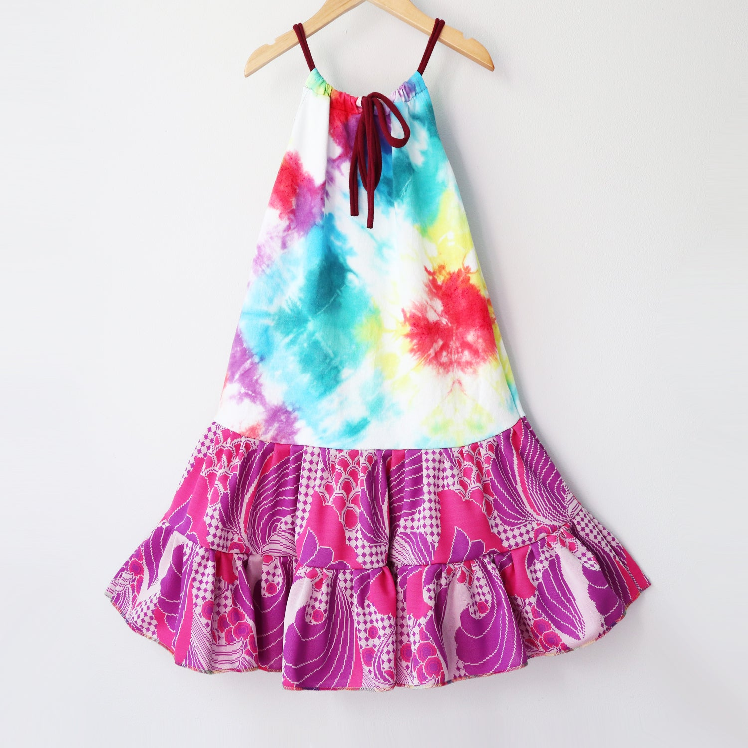 Image of rainbow paisley tiedye pink purple 8/10 vintage fabric tie drawstring swing dress courtneycourtney