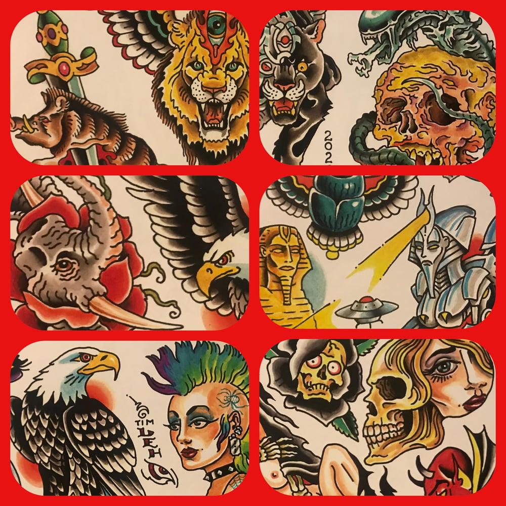 Image of Tim Lehi 2020 Tattoo Flash Set #2.