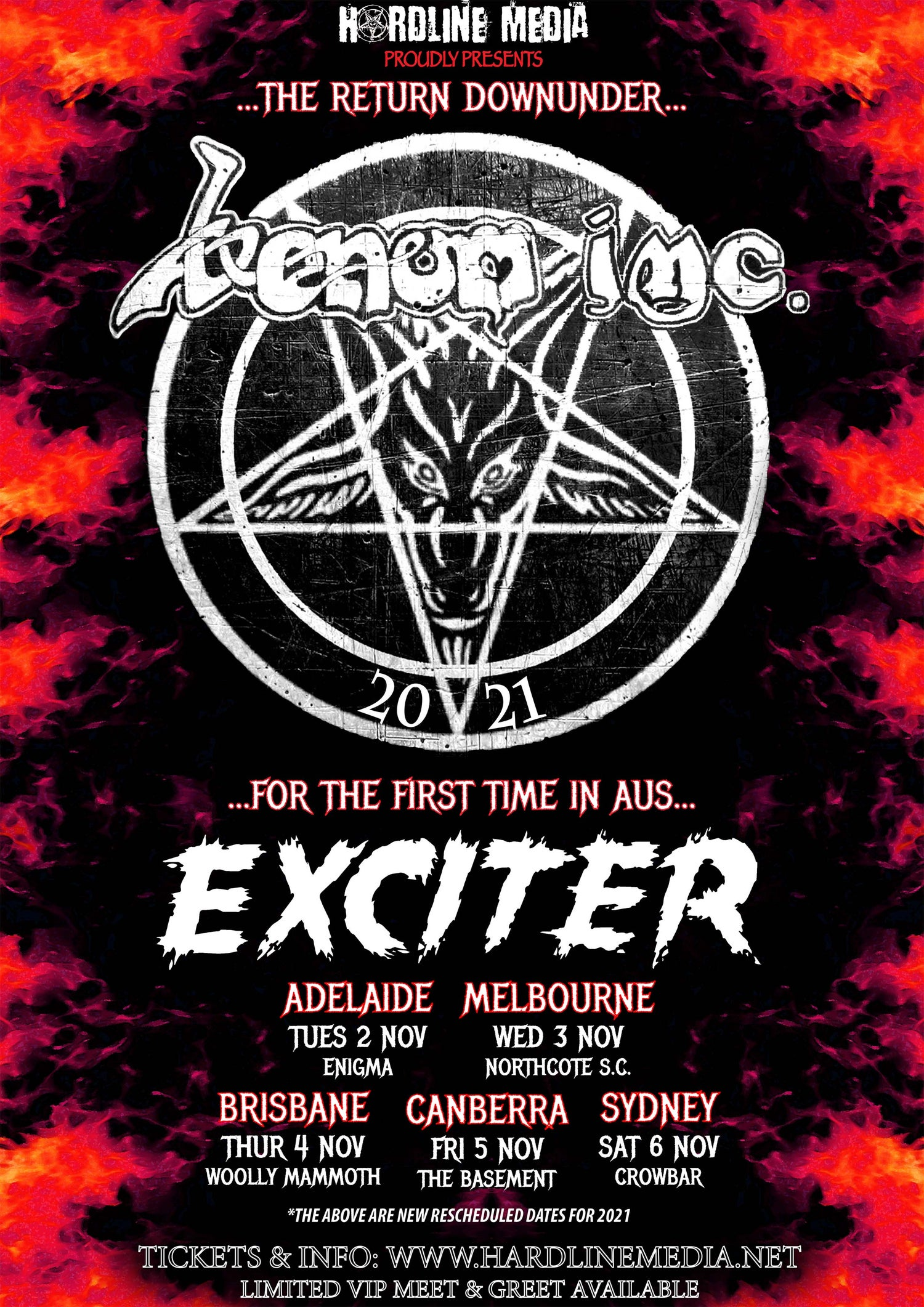 Image of VIP TICKET - VENOM INC + EXCITER - ADELAIDE, ENIGMA - TUES 2 NOV 2021
