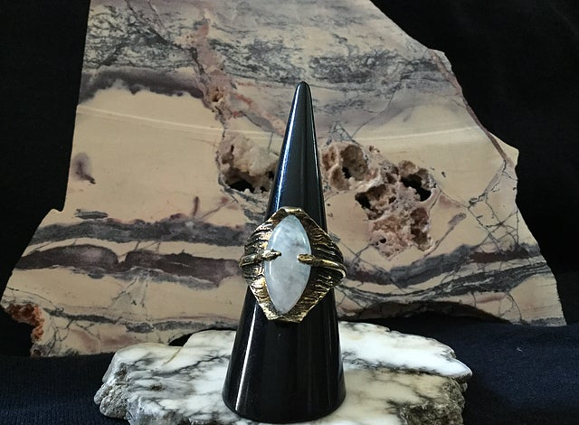 Image of Thin Air Ring in Moonstone & Brass