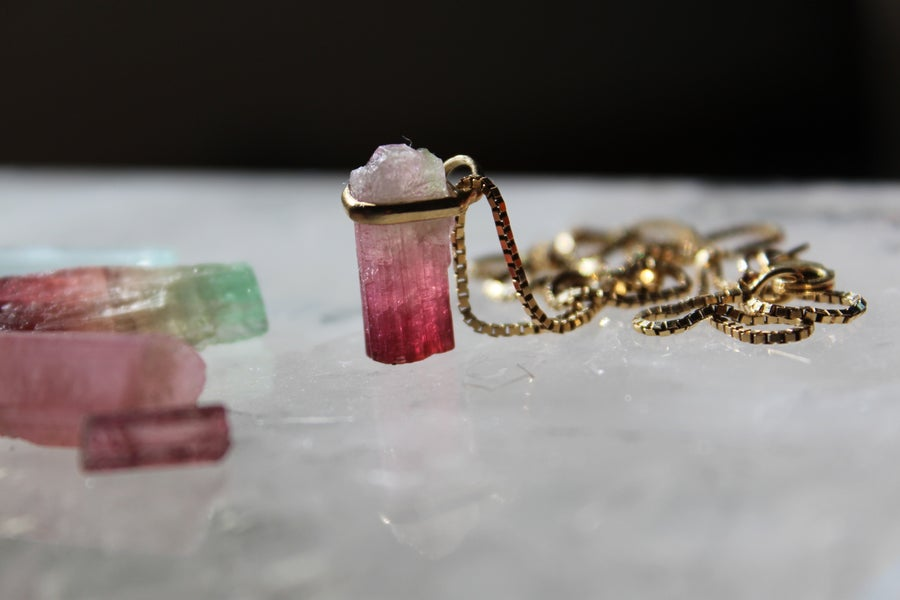 Image of Rubellite Tourmaline in 14ct gold