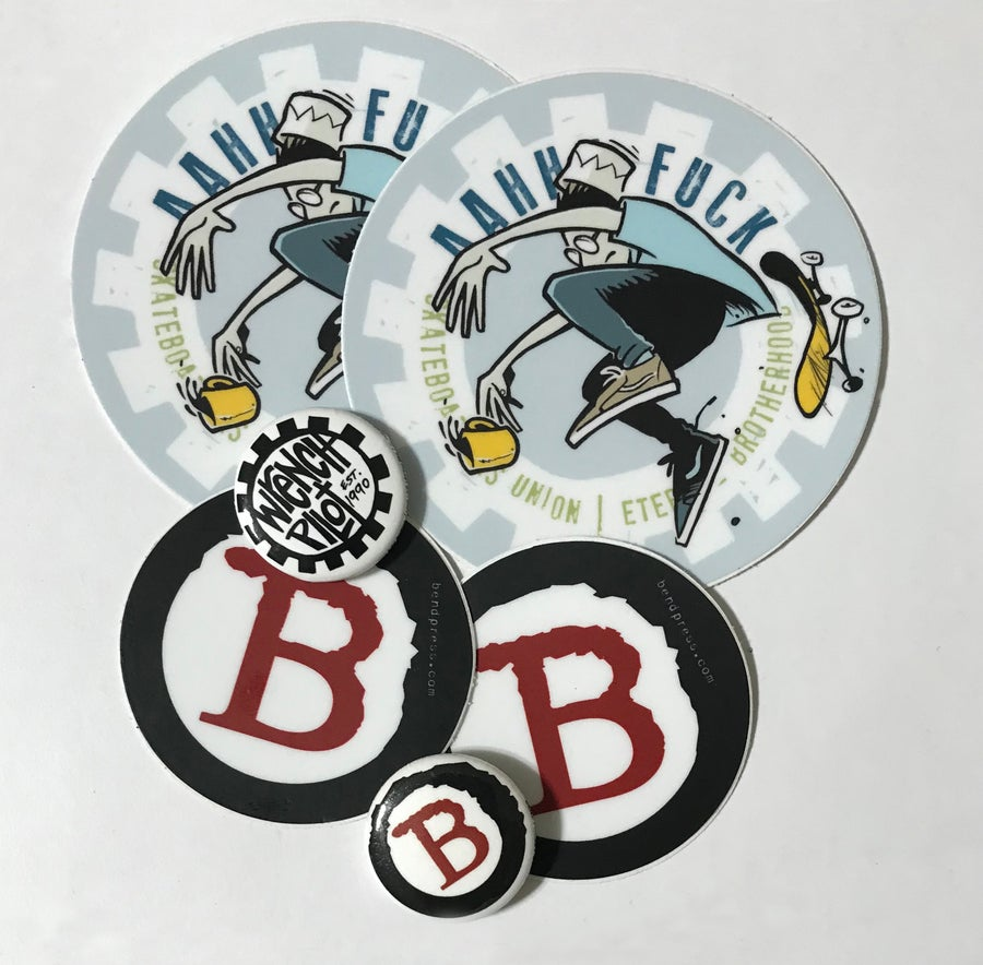 Image of WRENCH / BEND Sticker & Pin Pack