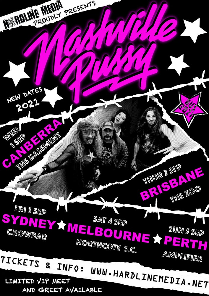 Image of VIP TICKET - NASHVILLE PUSSY - CANBERRA, THE BASEMENT - WED 1 SEP 2021