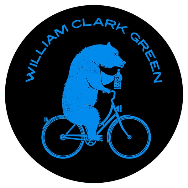 Image of Blue / Black Bear On A Bike Sticker