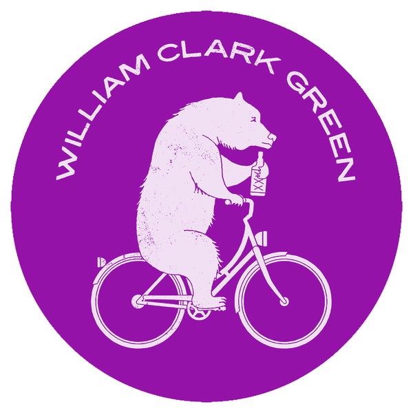 Image of Purple / White Bear On A Bike Sticker