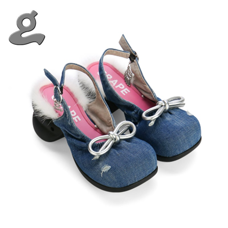 Image of Deep Blue Denim Platform Sandals 'Ballerina'