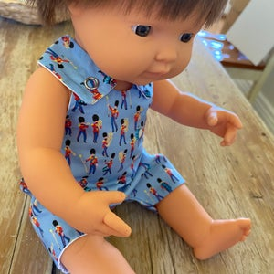 Image of Liberty Romper to suit 38cm Miniland doll - 'Soldiers'