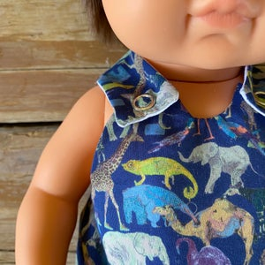 Image of Liberty Romper to suit 38cm Miniland doll - 'Queue for the Zoo' Navy