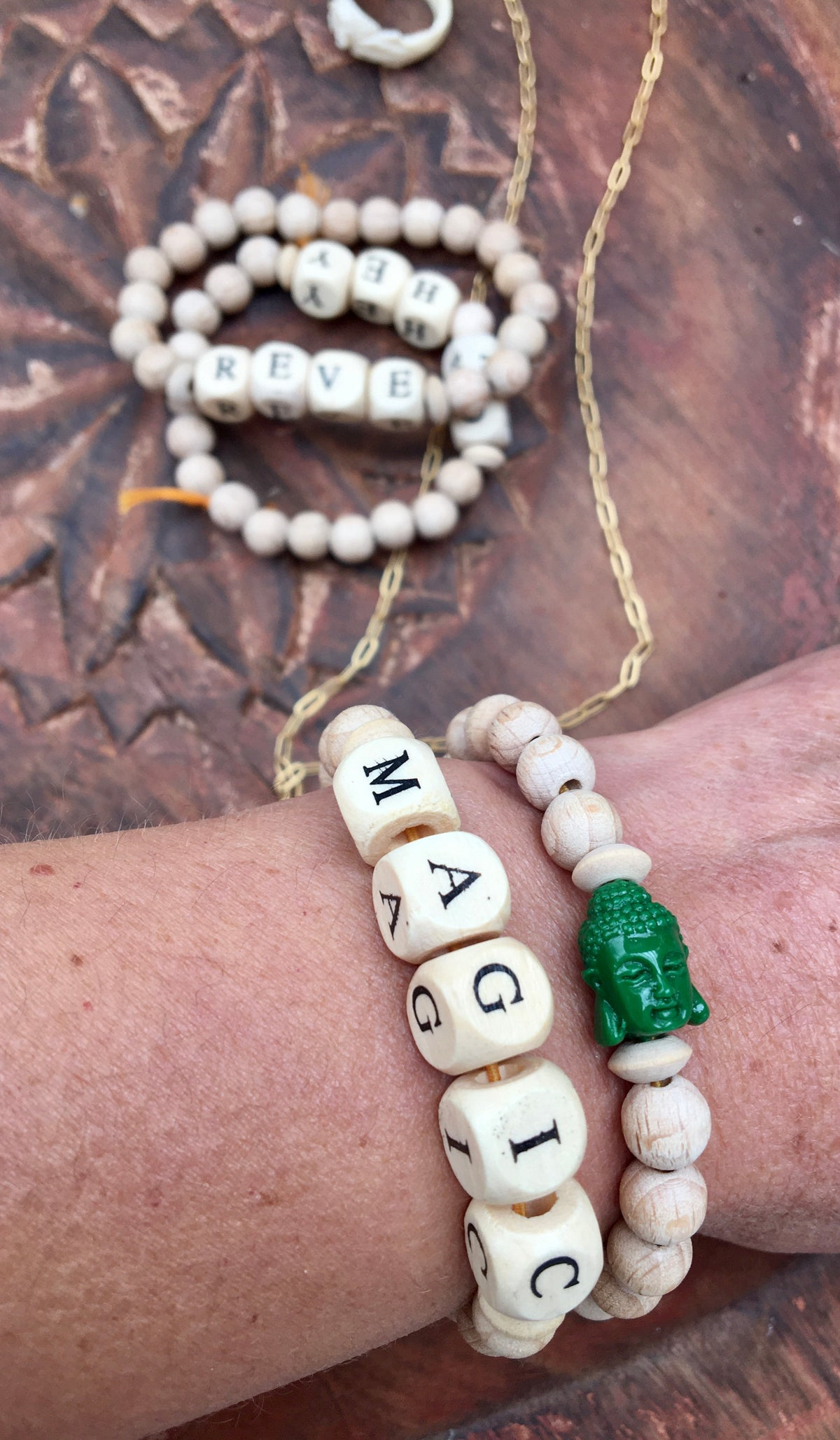 Wooden Bead Bracelet - MAGIC