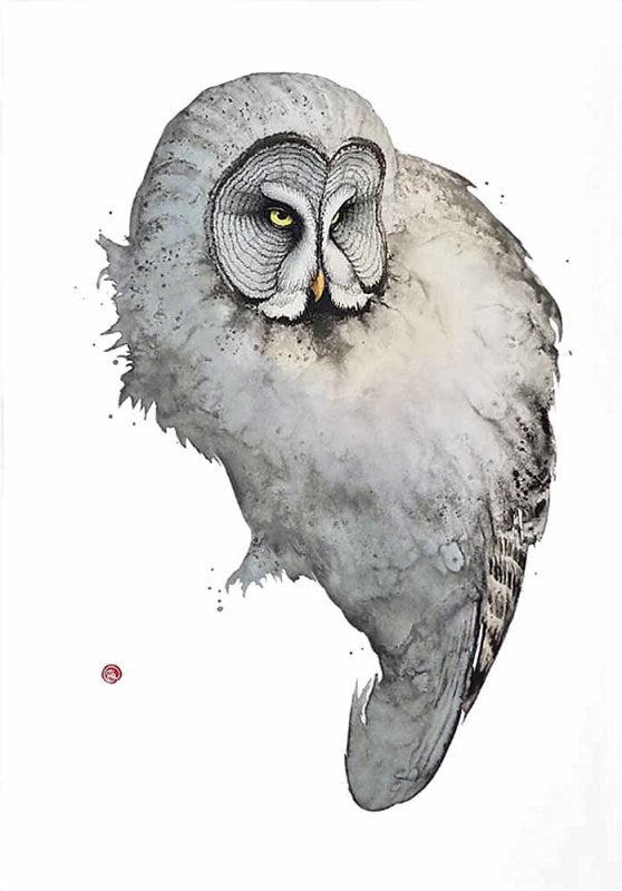 Image of KARL MARTENS - 'GREAT GREY OWL' - LITHOGRAPH - SIGNED & STAMPED