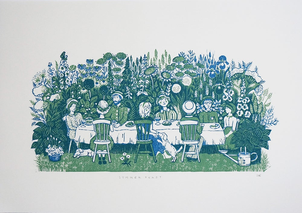 Image of Summer Feast - Linocut