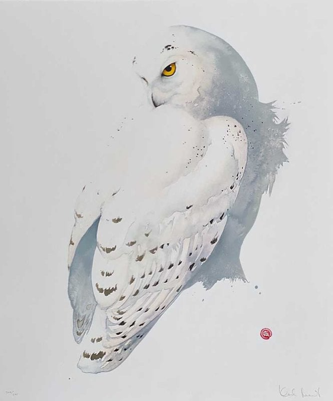 Image of KARL MARTENS - 'SNOWY OWL' LITHOGRAPH - SIGNED & STAMPED