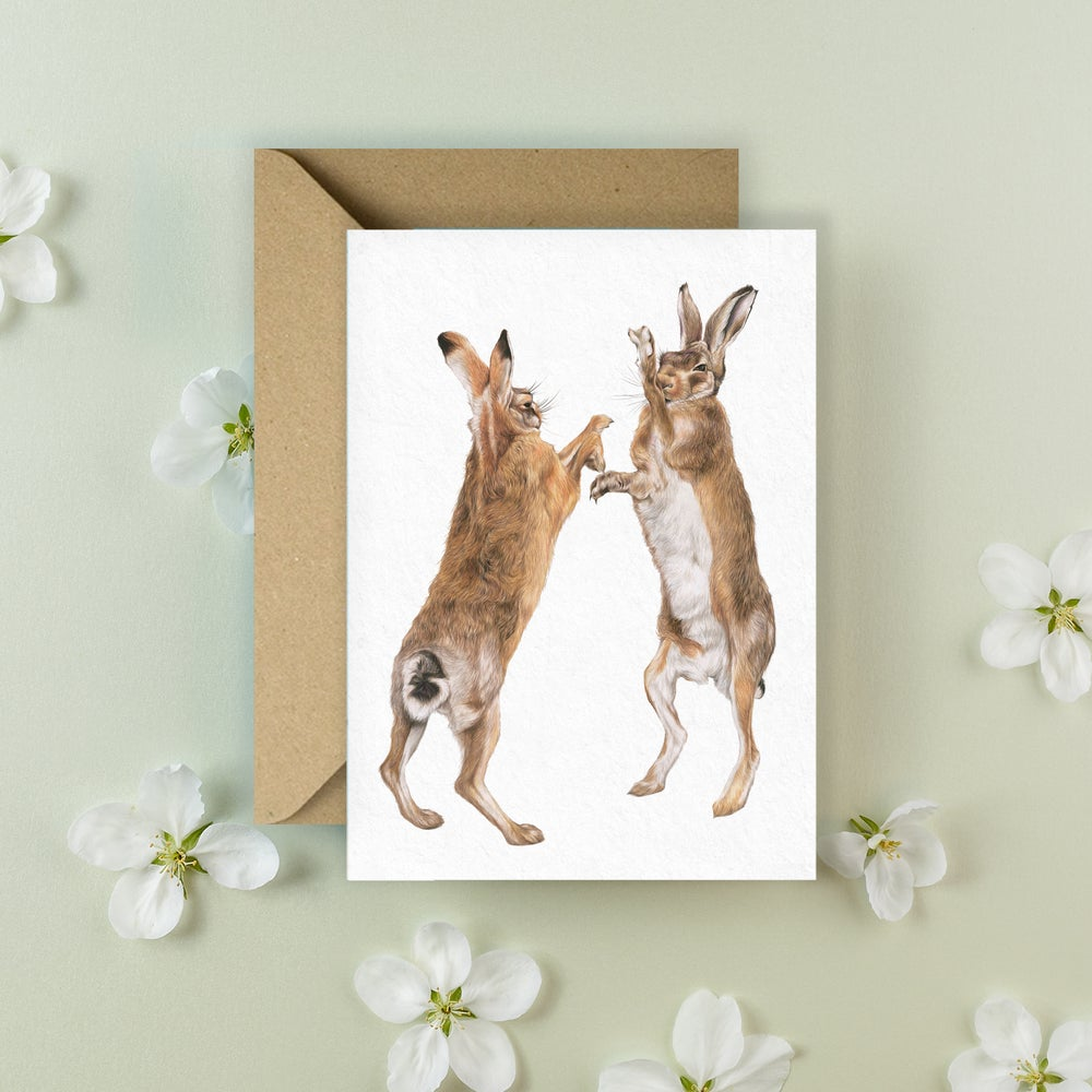 Image of 'Boxing Hares' Greeting Card