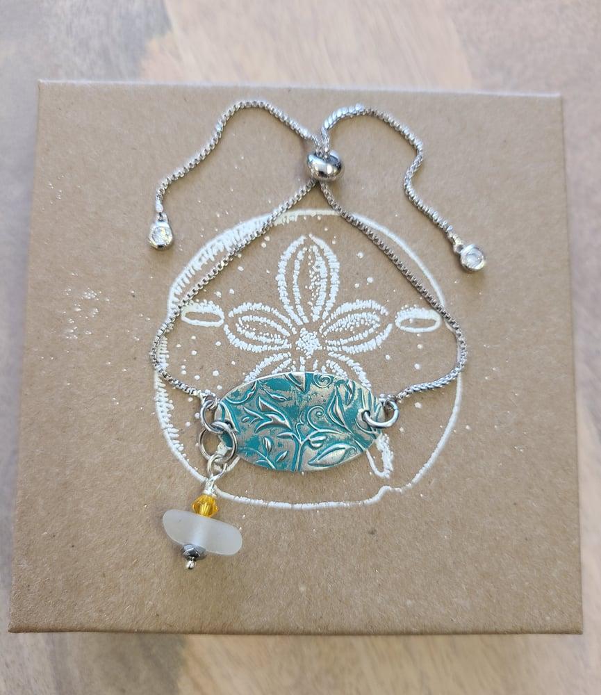 Image of Hand Created- Fine Silver- Sea Glass- Swarovski- #393