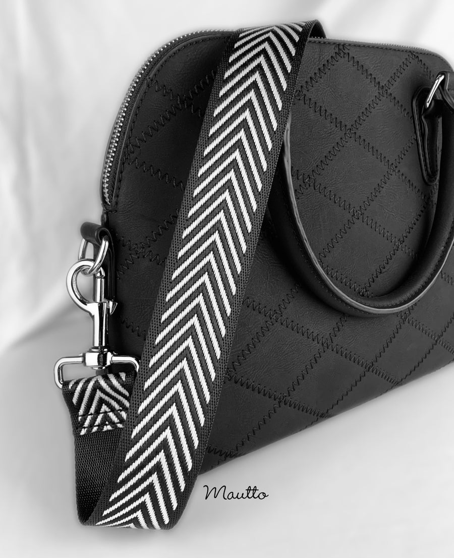 "Image of Black & White Chevron Strap - 1.5"" Wide Nylon - Adjustable Length - Dog Leash Style #19 Hooks"