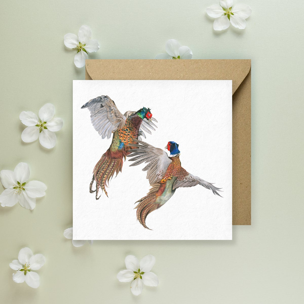 Image of 'Fighting Pheasant' Greeting Card