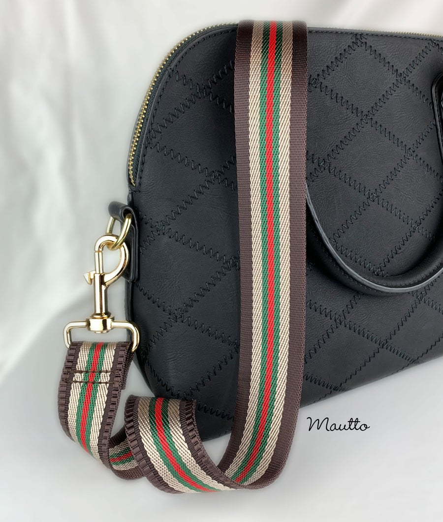 "Image of Brown-Tan-Green-Red Strap for Bags - 1.5"" Wide Nylon - Adjustable Length - Dog Leash Style #19 Hooks"