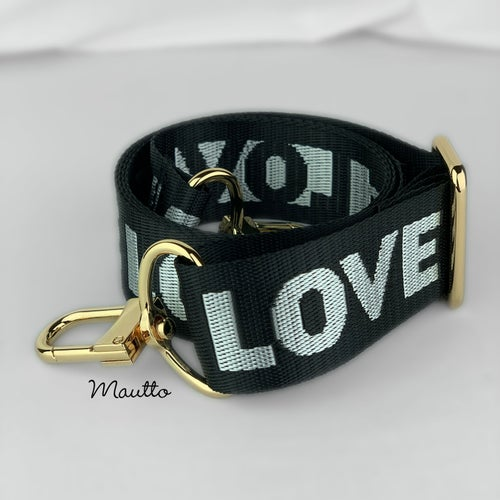 """Image of Black & Silver LOVE Strap for Bags - 1.5"""" Wide Nylon - Adjustable - U Shape Style #16XLG Hooks"""