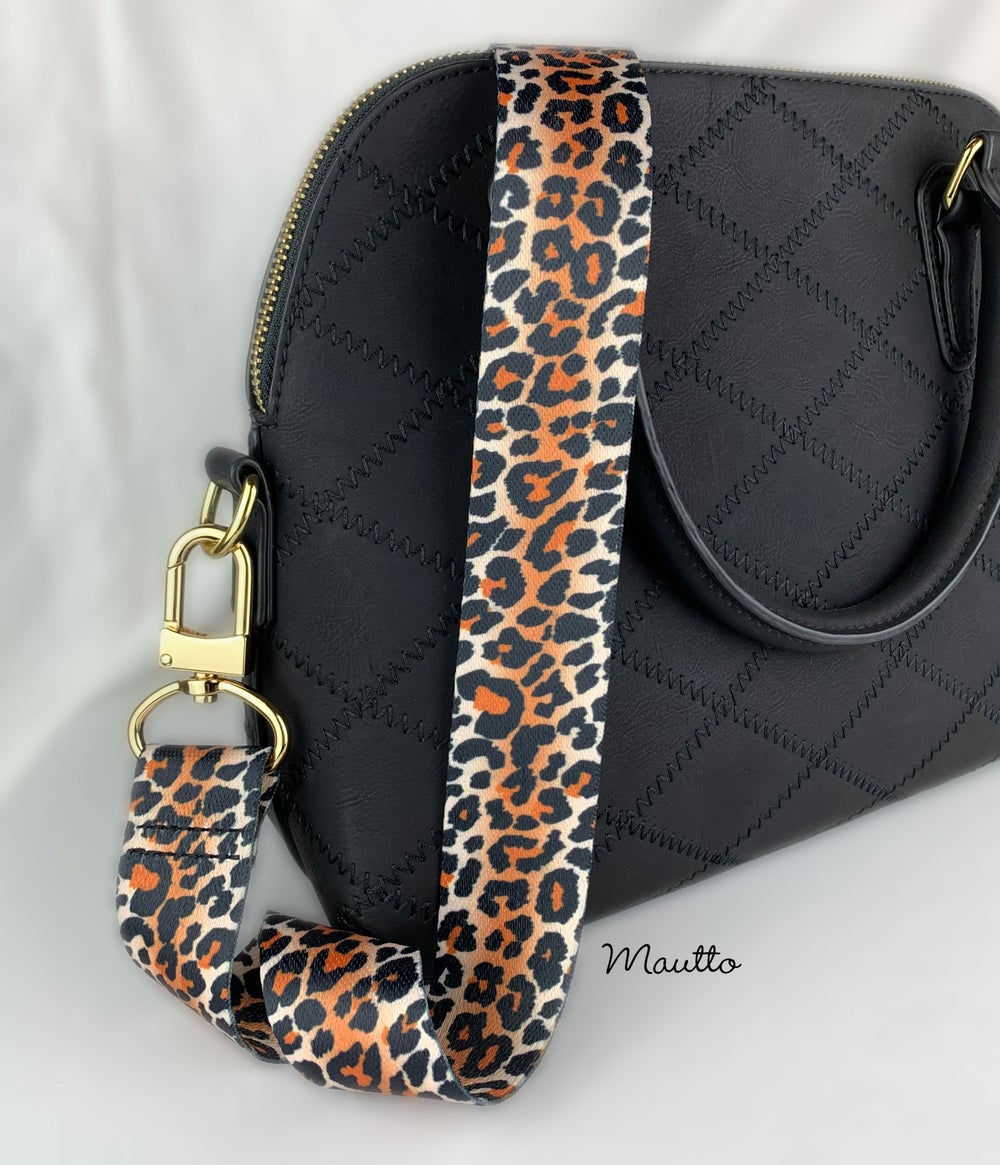 "Image of Light Leopard Pattern Strap - 1.5"" Wide Nylon - Adjustable Length - U Shape Style #16XLG Hooks"