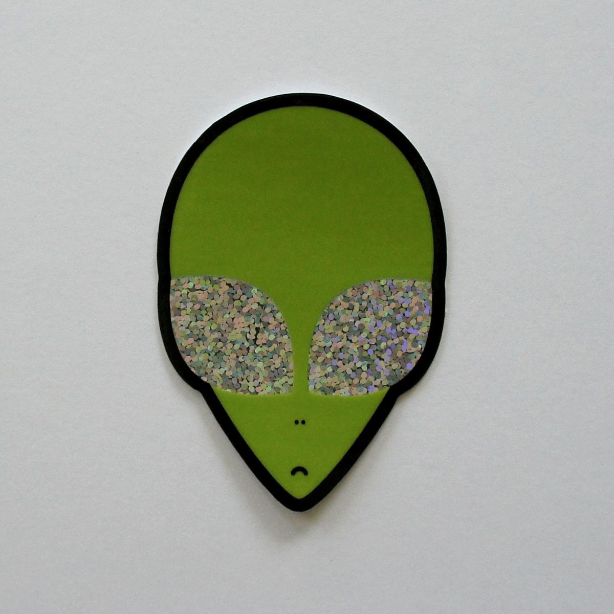 Holographic Glitter Alien Sticker