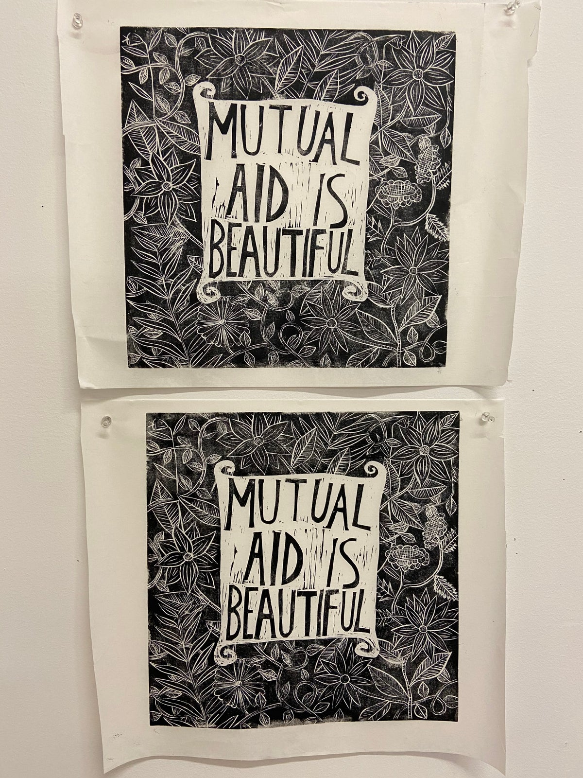 Image of Mutual Aid is Beautiful linocut print