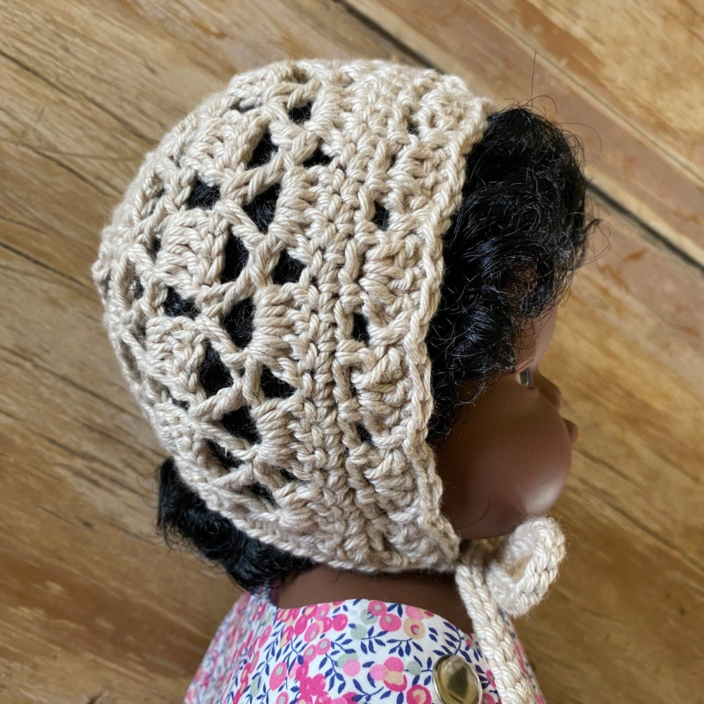 Image of Crochet bonnet to suit 38cm Miniland Doll - beige