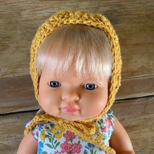 Image of Crochet Bonnet to suit 38cm Miniland doll - 'Ochre'