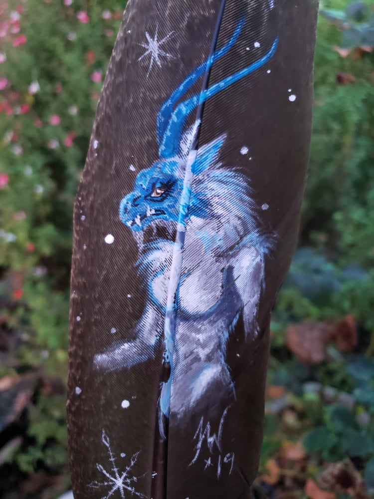 "Image of Yeti on peacock feather ""Gothha"""