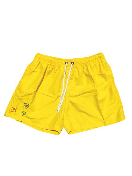 Image of Embroidered Logo Swim Shorts (Yellow)