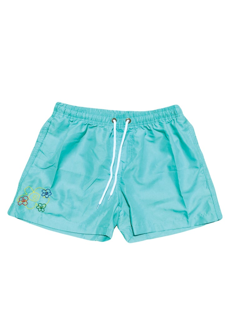 Image of Embroidered Logo Swim Shorts (Teal)