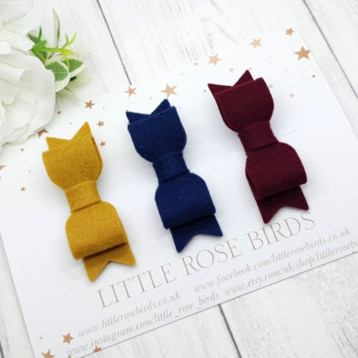 Image of SET OF 3 Bows Mustard/Navy/Burgundy - Choice of Headbands or Clips