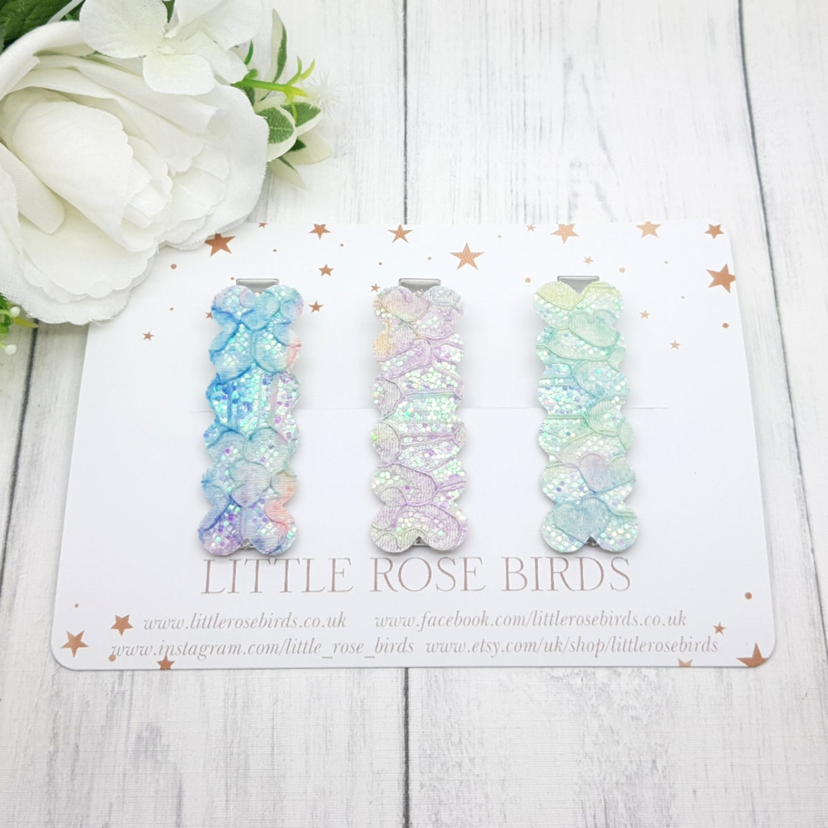 Image of Set of 3 Mermaid / Lace Glitter Hair Clips
