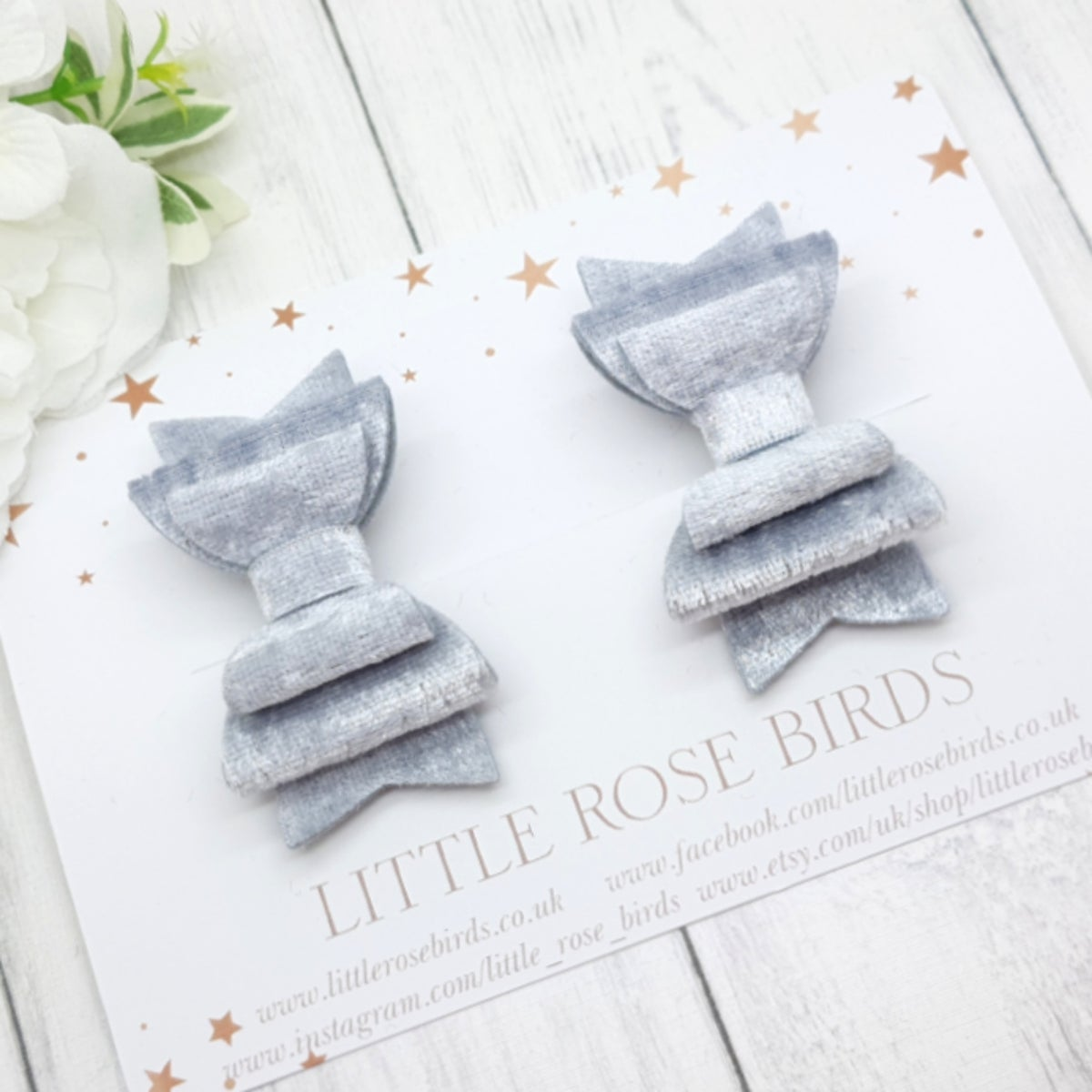 Image of Silver Grey Velvet Pigtail Bows