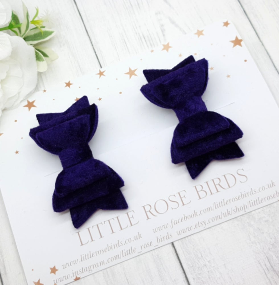 Image of Dark Purple Velvet Pigtail Bows