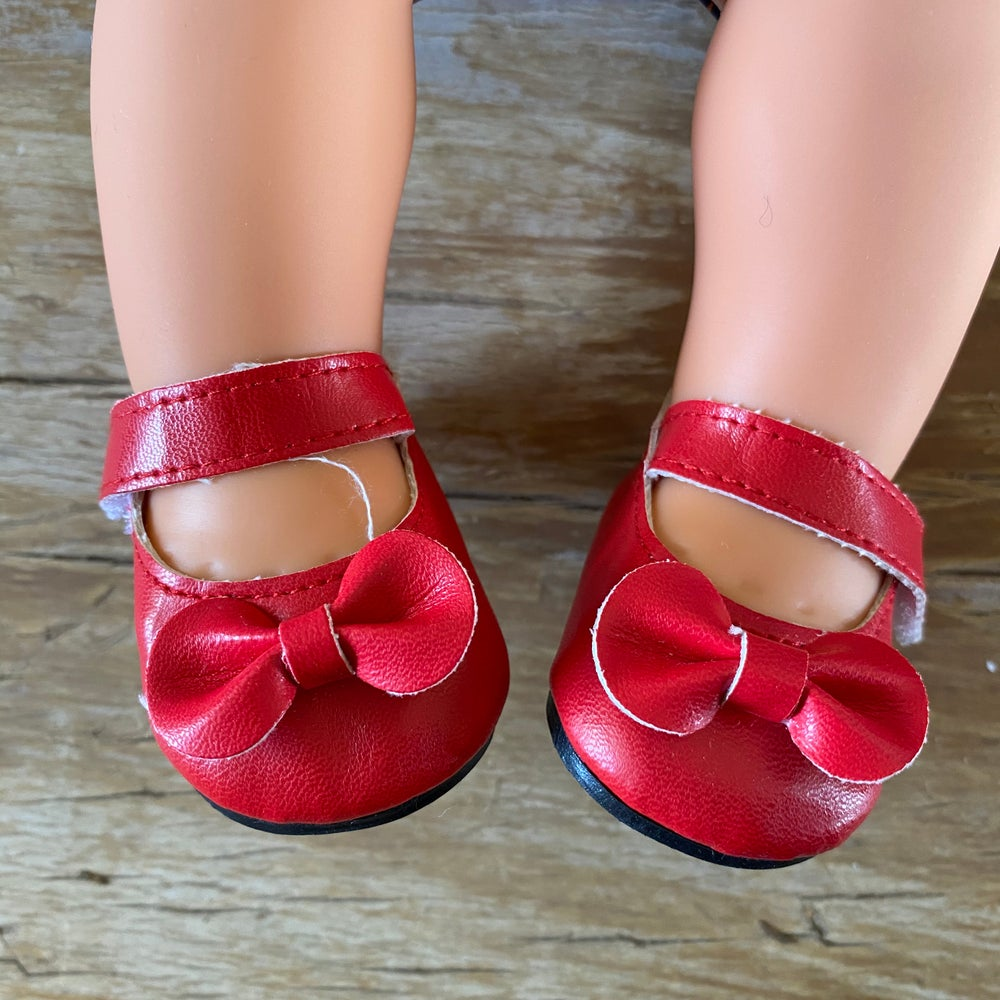 Image of Shoes to suit 38cm Miniland doll - 'red'